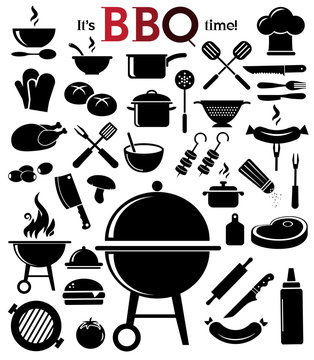 Grill, barbecue vector icon set.
