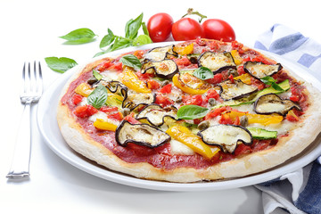 Grilled vegetable pizza: tomato, mozzarella, eggplant, peppers, zucchini and capers