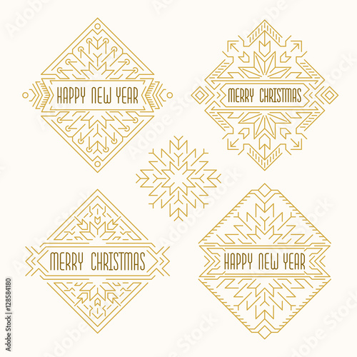 Merry Christmas and Happy New Year badges. Frames in outline style ...