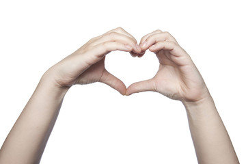 hands folded in the shape of a heart indicate the love, copy spa