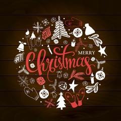 Christmas illustration, lettering