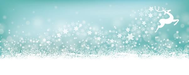 Cyan Christmas Card Header Snowflakes Reindeer Stardust