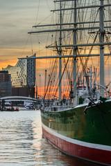 Dämmerung Hamburger Hafen