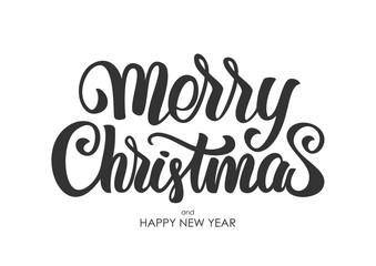 Vector illustration: Hand drawn elegant modern brush lettering of Merry Christmas isolated on white background.