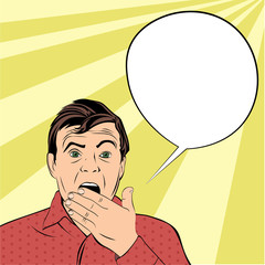 Shocked man opened his mouth in surprise with bubble for speech. Illustration in pop-art style