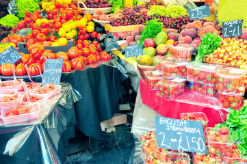 Fruits and vegetables selling in the market