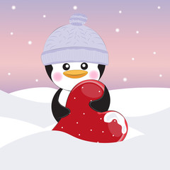 Greeting card cute cartoon pinguin with heart on a gray background. Vector illustratiojn