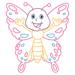 Coloring Page Illustration of Cartoon Butterfly