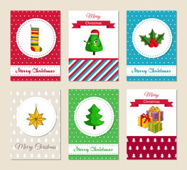 Christmas greeting cards and Xmas party invitations set. Colorful Merry Christmas and Happy New Year concepts with sock for stocking, funny Christmas tree, gifts, star toy holly vector illustrations