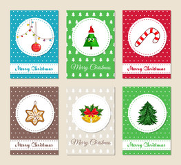 Christmas greeting cards and Xmas party invitations set. Colorful Merry Christmas and Happy New Year concepts with Christmas tree, toy, garland, cookie, bells with holly, candy vector illustrations