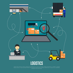Logistics and freight shipment flowchart vector illustration. Services operator coordinating cargo transportation. Warehouse, logistics manager, freight commercial truck, laptop with delivery map icon