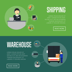 Warehouse logistics and shipping banners vector illustration. Services operator coordinating cargo shipping, warehouse worker loading freight truck. Local delivery service and distribution business