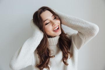 Beauty model in sweater