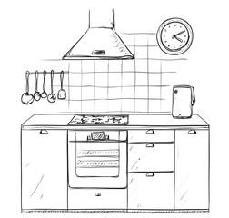 Hand drawn kitchen. Furniture sketch.