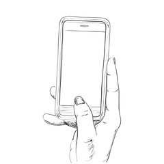 Hand drawn sketch of mobile phone