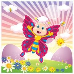Vector Illustration Of Cartoon Butterfly