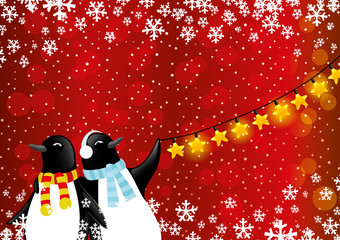 Christmas and New Year illustration with penguins.