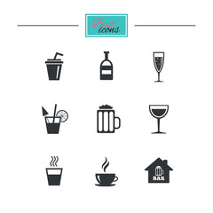 Coffee, tea icons. Beer, wine and cocktail signs. Soft and alcohol drinks symbols. Black flat icons. Classic design. Vector