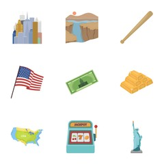 USA country set icons in cartoon style. Big collection of USA country vector symbol stock illustration