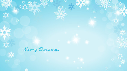 Turquoise Christmas background with snowflakes and simple Merry