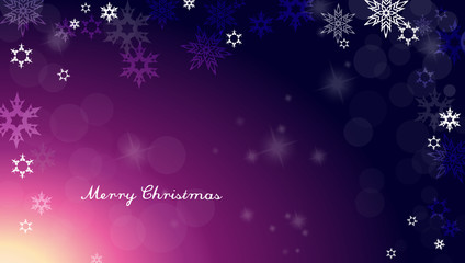 Dark Christmas background with snowflakes and simple Merry Chris