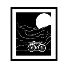 monochrome picture frame with bicycle and moon vector illustration