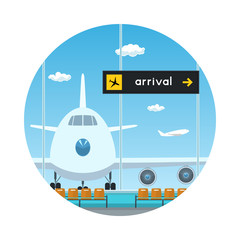 Icon Airport , View on Airplane through the Window from a Waiting Room , Scoreboard Arrivals at Airport, Travel and Tourism Concept, Flat Design, Vector Illustration