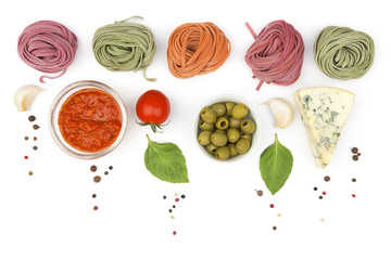 Rolled pasta and ingredients background