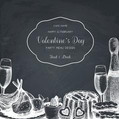 Vintage card or invitation design for Valentine's Day celebration. Vector frame with hand drawn food and drinks sketch on chalkboard. Cafe or restaurant menu template on chalkboard
