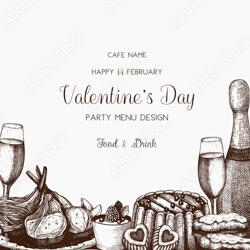 Valentine S Day Greeting Card Banner Or Flyer Template Sketched