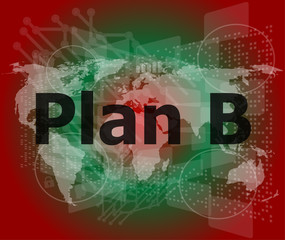 The word plan b on digital screen, business concept