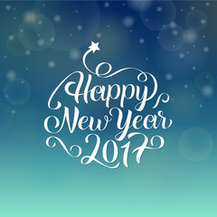 Happy New Year 2017 hand lettering text. Vector greeting card