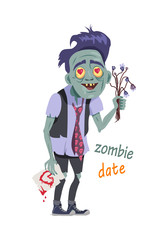 Zombie Date. Being with Flowers, Greeting Card