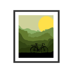 colorful picture frame with bicycle and sun vector illustration