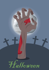 Zombie hand appears from grave with stone. Vector