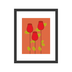 colorful picture frame with roses bud vector illustration