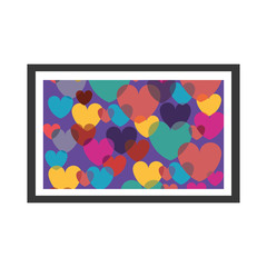 colorful decorative picture frame with hearts vector illustration
