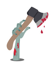 Zombie Hand Appears with Axe in Blood Isolated