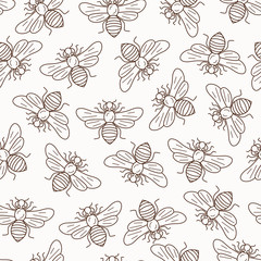 Vector seamless honey bee pattern