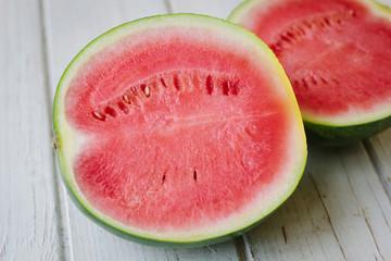 Halfs of delicious red watermelon.