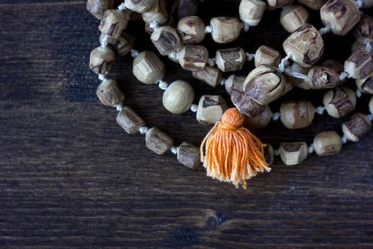 Japa mala rosary - hinduism and buddism rosary made from tulsi tree for hare krishna chanting