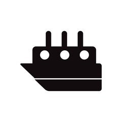 black vector icon on white background ship in sea