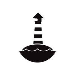 black vector icon on white background lighthouse and sea
