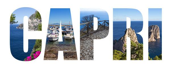 Capri island landmarks letters, Italy