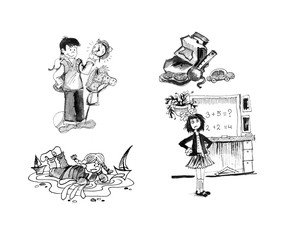 Black and white illustrations, drawings on the theme of the school. Made of black watercolor and ink. The student, the school board, girl, boy, briefcase, teaches the doctrine. On isolated background.