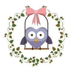 border of creepers with owl on swing vector illustration