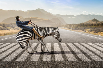 Wall Mural - Businesswoman ride zebra . Mixed media