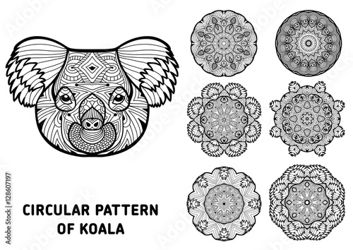 Coloring Book For Adults The Head Of A Koala With Patterns Australia Animals