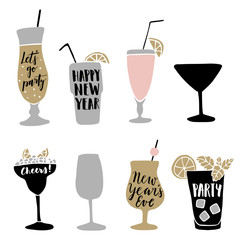 Set of hand drawn alcoholic cocktails with lettering quotes. Happy New Year concept. Isolated vectors.
