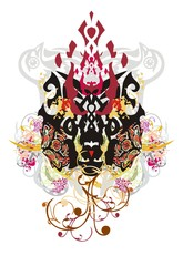 Grunge tribal imaginary animal head. Colorful floral splashes in the head of an animal similar to a dog against the background of pigeons and the wolf heads